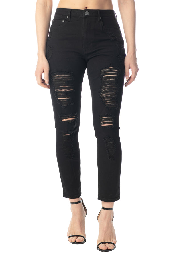 BLACK COLOR HI-RISE DESTRUCTED FRONT MOM FIT STRETCH JEANS - Almost Famous Clothing