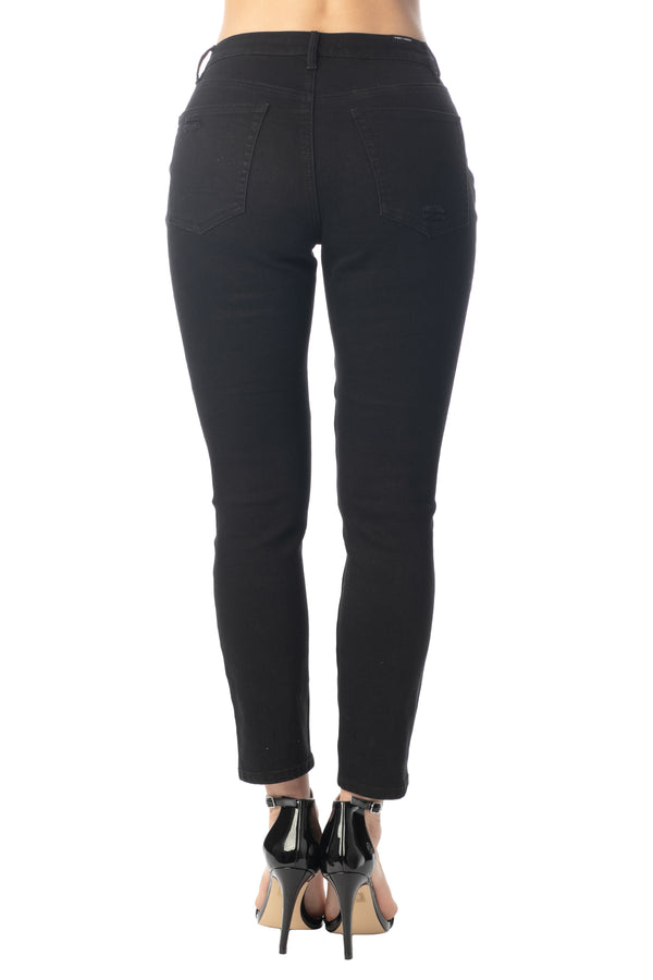 BACK SIDE OF HI-RISE DESTRUCTED FRONT MOM FIT STRETCH JEANS - Almost Famous Clothing
