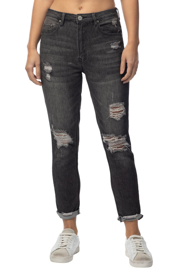 Juniors denim high rise jean distressed vintage mom fit cuffed for women - Almost Famous Clothing