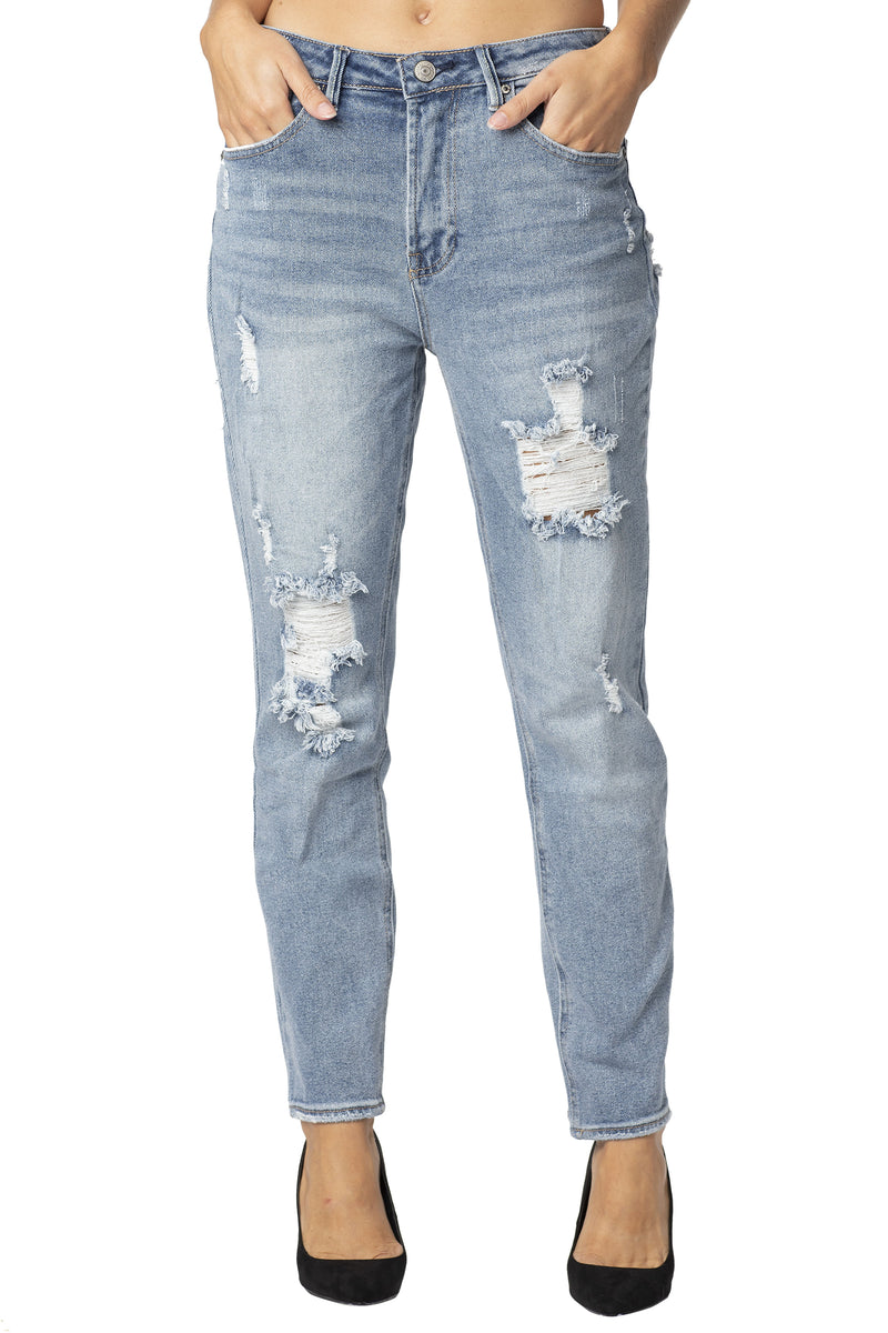 "DESTRUCTED HI-RISE MOM FIT ""VINTAGE DENIM"" JEAN - Almost Famous Clothing"