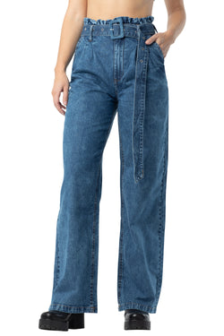 Medium Wash color Wide leg self belted distressed, pleated front denim jeans with pockets - Almost Famous Clothing