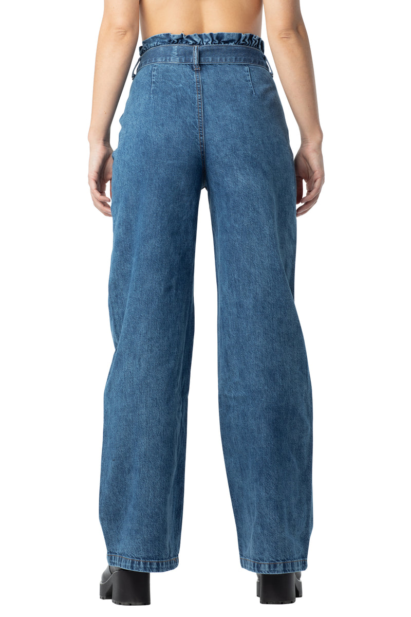 Medium wash back side Wide leg self belted distressed, pleated front denim jeans with pockets - Almost Famous Clothing