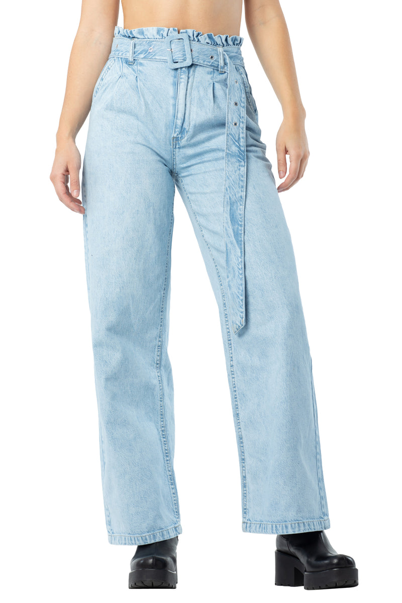 Wide leg self belted distressed, pleated front denim jeans with pockets - Almost Famous Clothing