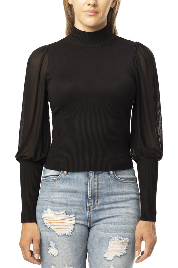 BLACK COLOR SHEER MESH BISHOP SLEEVE SWEATER - Almost Famous Clothing