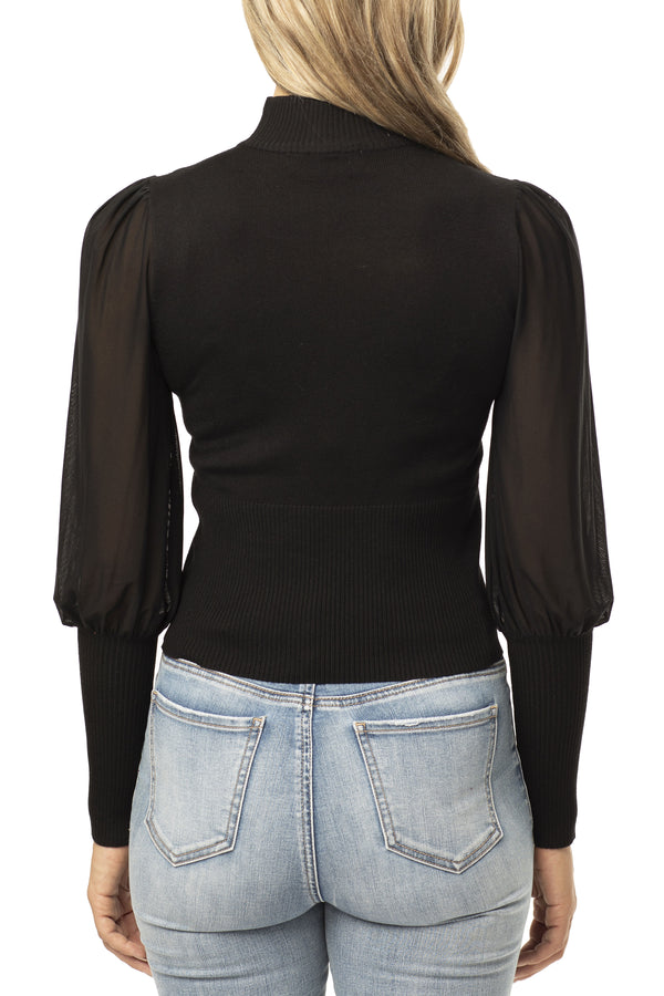 BLACK COLOR BACK SIDE OF SHEER MESH BISHOP SLEEVE SWEATER - Almost Famous Clothing