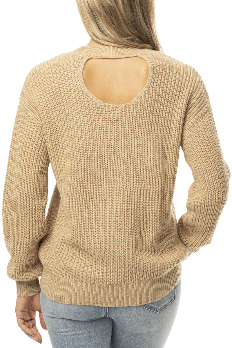 BACK SIDE OF CABLE SLOUCHY SWEATER - Almost Famous Clothing
