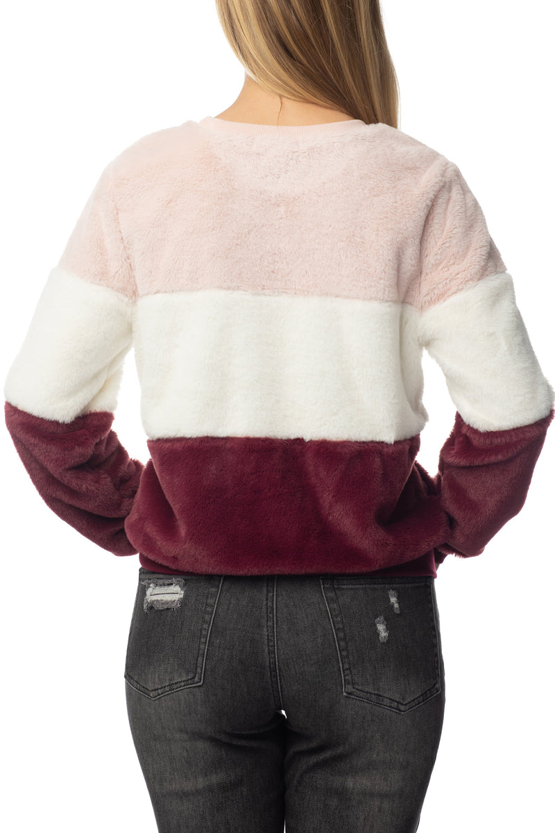 Women's Juniors Triple Colored Blocked Faux Fur Sweatshirt - Almost Famous Clothing