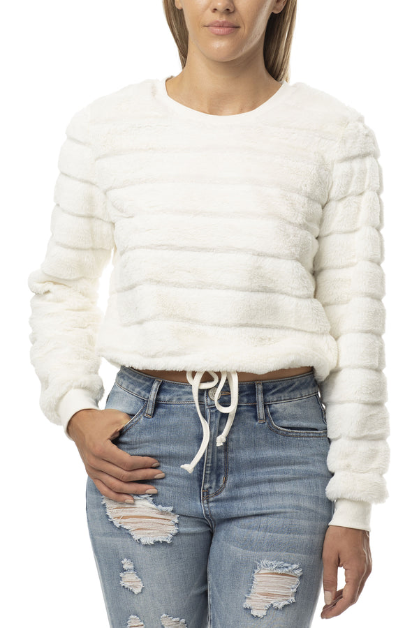 IVORY COLOR FUZZY FUR CREW NECK DRAWSTRING WAIST PULLOVER - Almost Famous Clothing