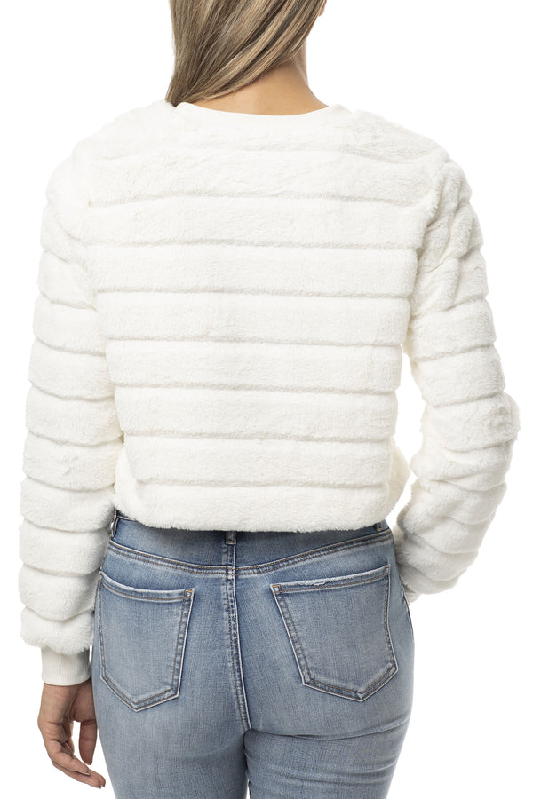 IVORY COLOR BACK SIDE OF FUZZY FUR CREW NECK DRAWSTRING WAIST PULLOVER - Almost Famous Clothing