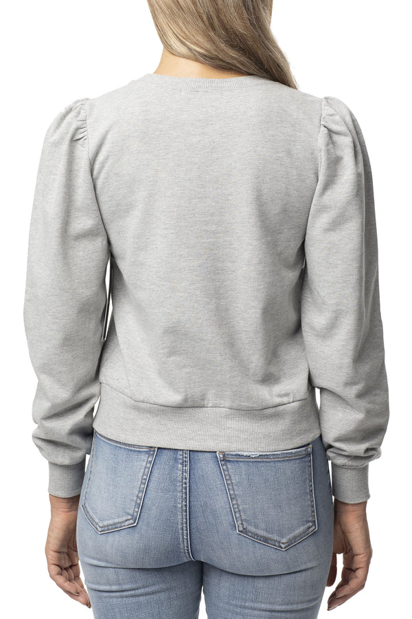 PUFF SLEEVE TRENDY SWEATSHIRT - Almost Famous Clothing