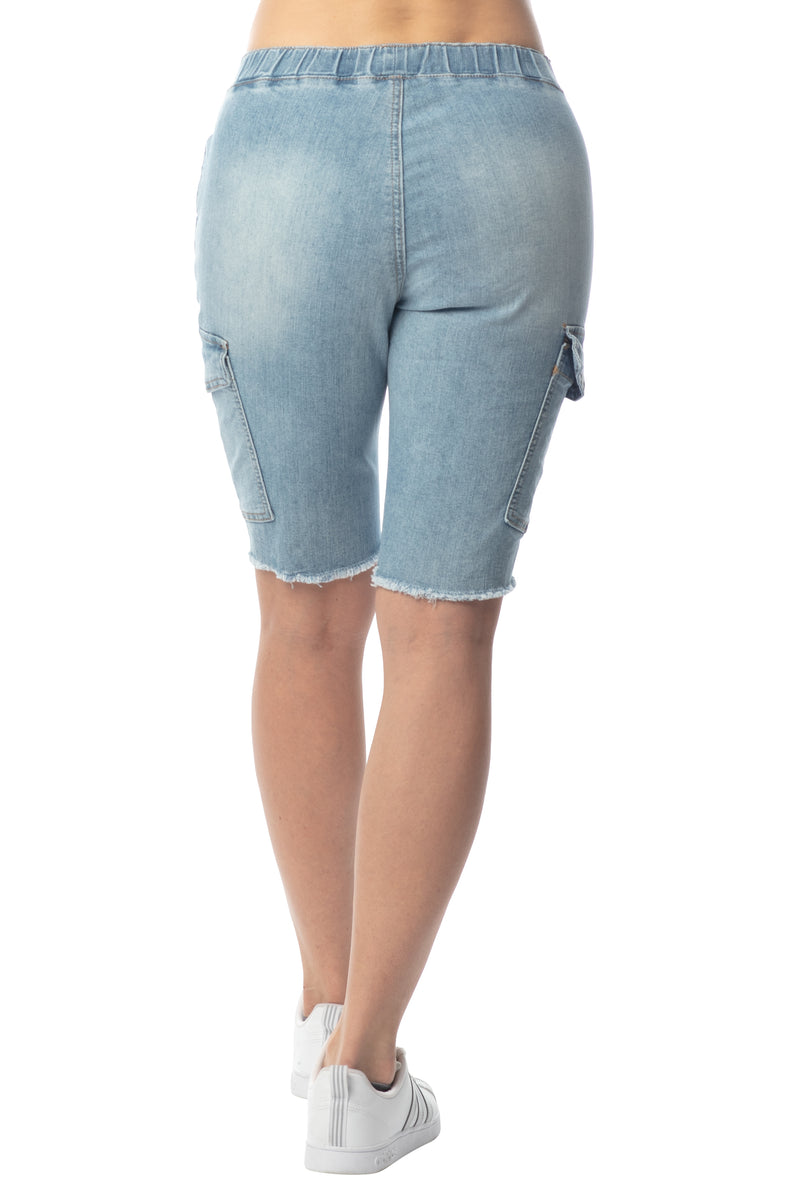 Women's Juniors Cargo Pocket Jogger Cut-Off Bermuda Short - Almost Famous Clothing