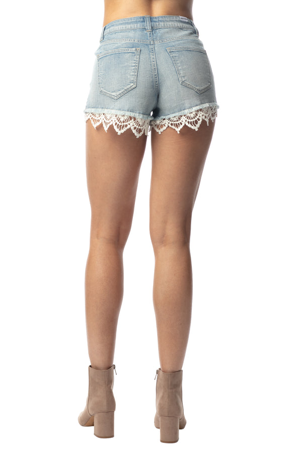 LACE TRIM FESTIVAL HI-RISE SHORT IN STRETCH DENIM - Almost Famous Clothing