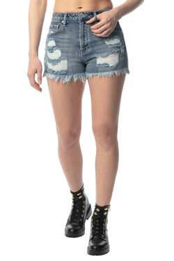 """RIPPED & DESTROY"" FRAYED HEM HI-RISE MOM FIT SHORT - Almost Famous Clothing"