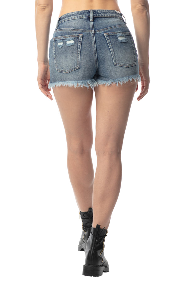 "BACK SIDE OF ""RIPPED & DESTROY"" FRAYED HEM HI-RISE MOM FIT SHORT - Almost Famous Clothing"