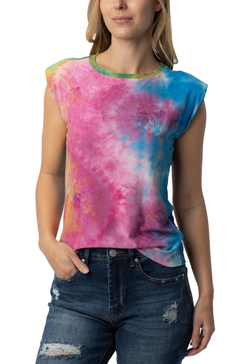Multicolor Shoulder pad flange tee - Almost Famous Clothing