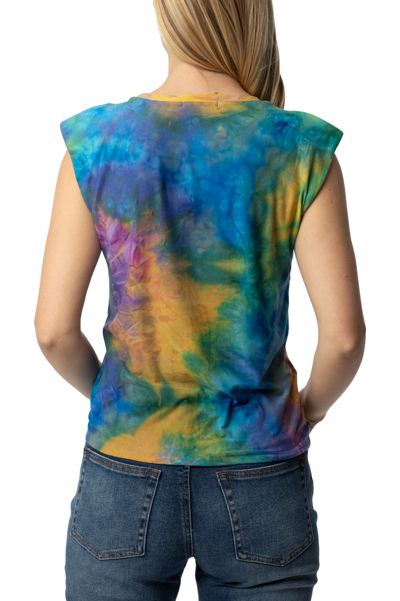 Multicolor back side of Shoulder pad flange tee - Almost Famous Clothing