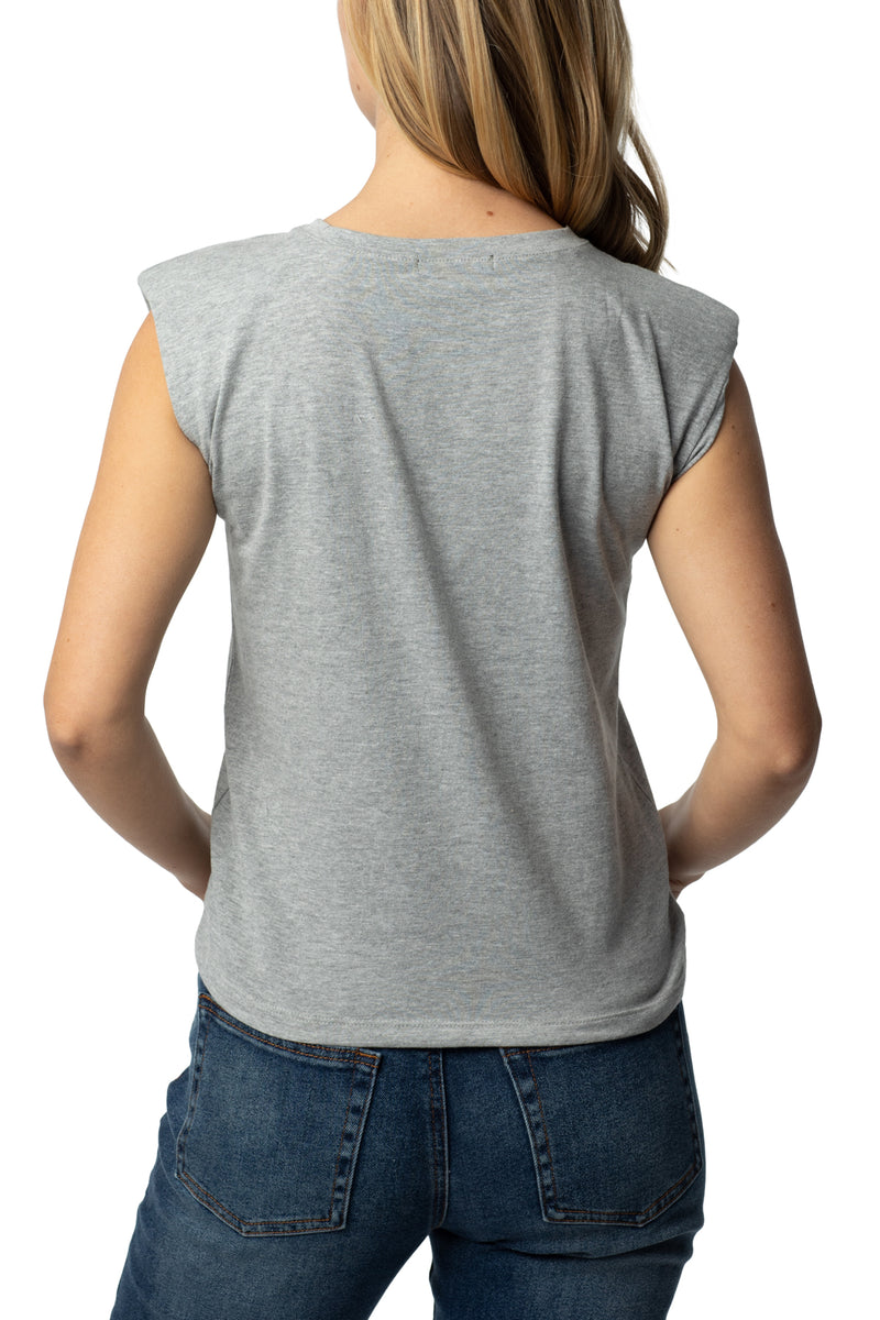 Back side of Shoulder pad flange tee - Almost Famous Clothing