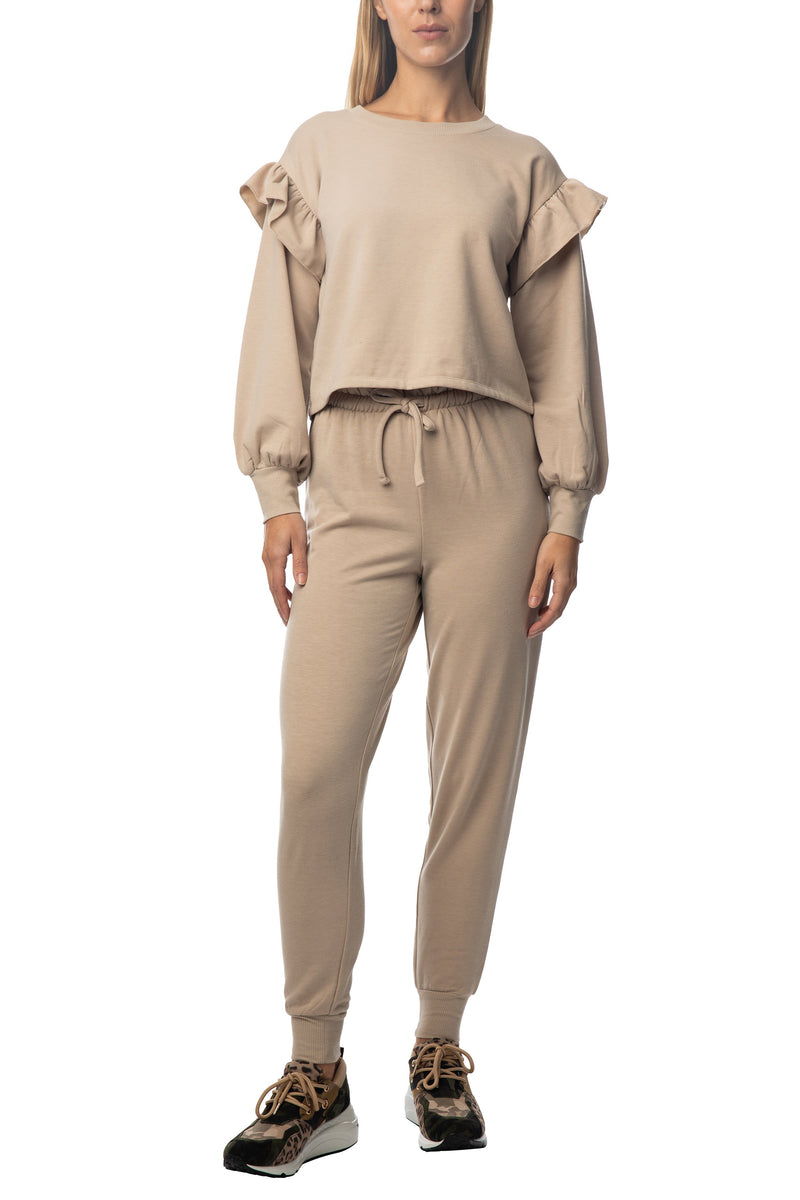 Women's juniors ruffle sleeve cropped top pullover pant outfit set - Almost Famous Clothing