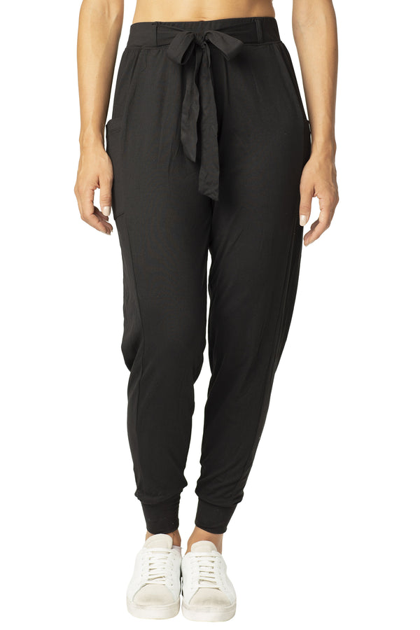 BLACK COLOR SUPER SOFT BELTED KNIT LOUNGE JOGGER WITH  SLIT POCKETS-ELASTIC WAIST - Almost Famous Clothing