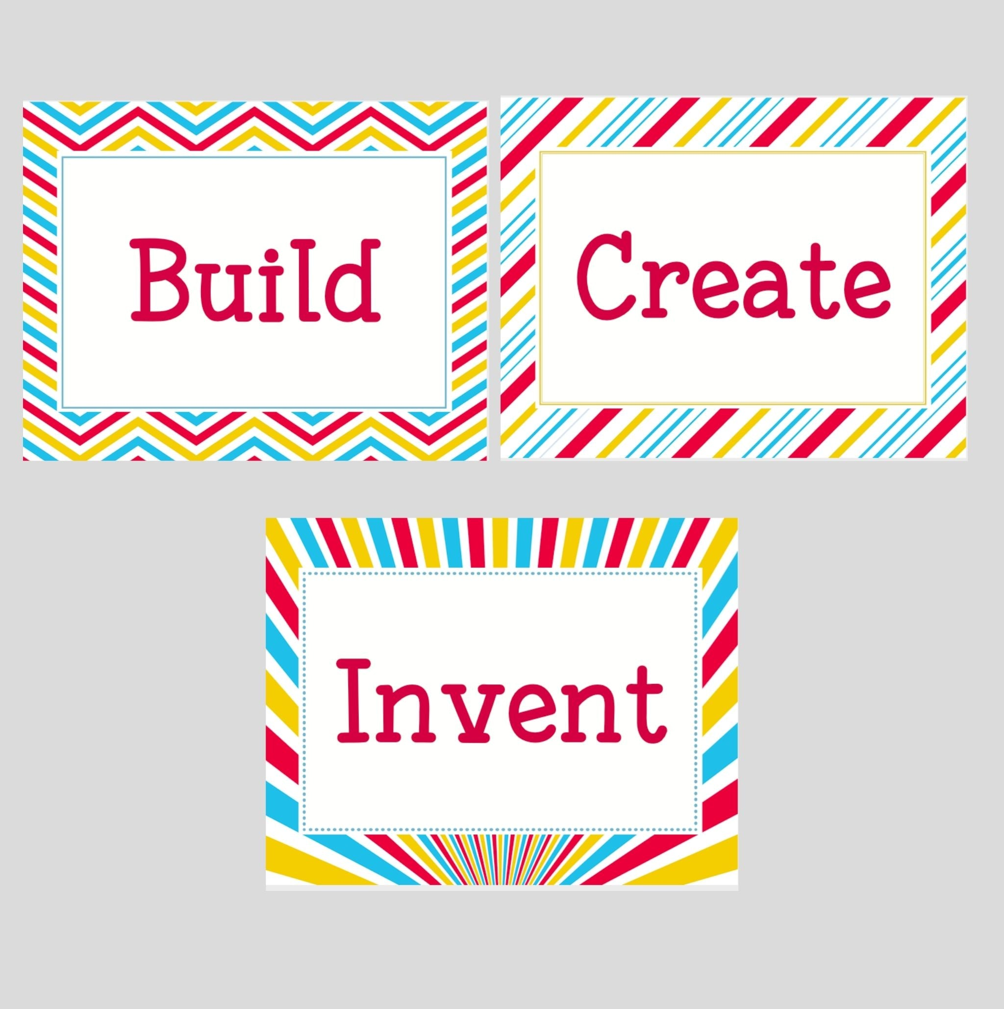 Playroom Signs: Build, Invent, Create