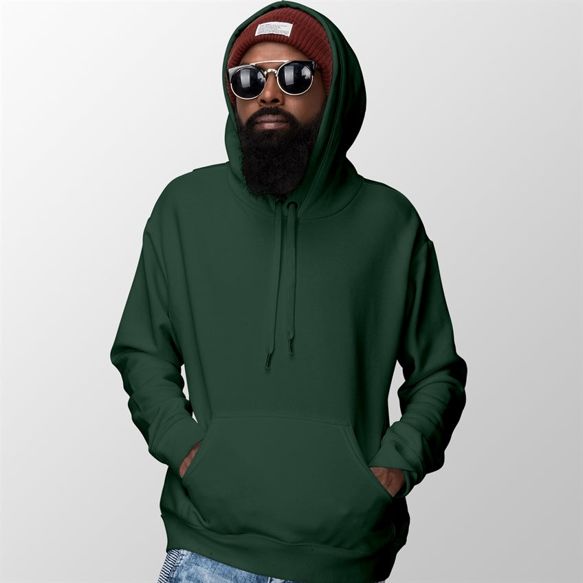 Bottle Green Basic Plain Unisex Hoodie For Men & Women