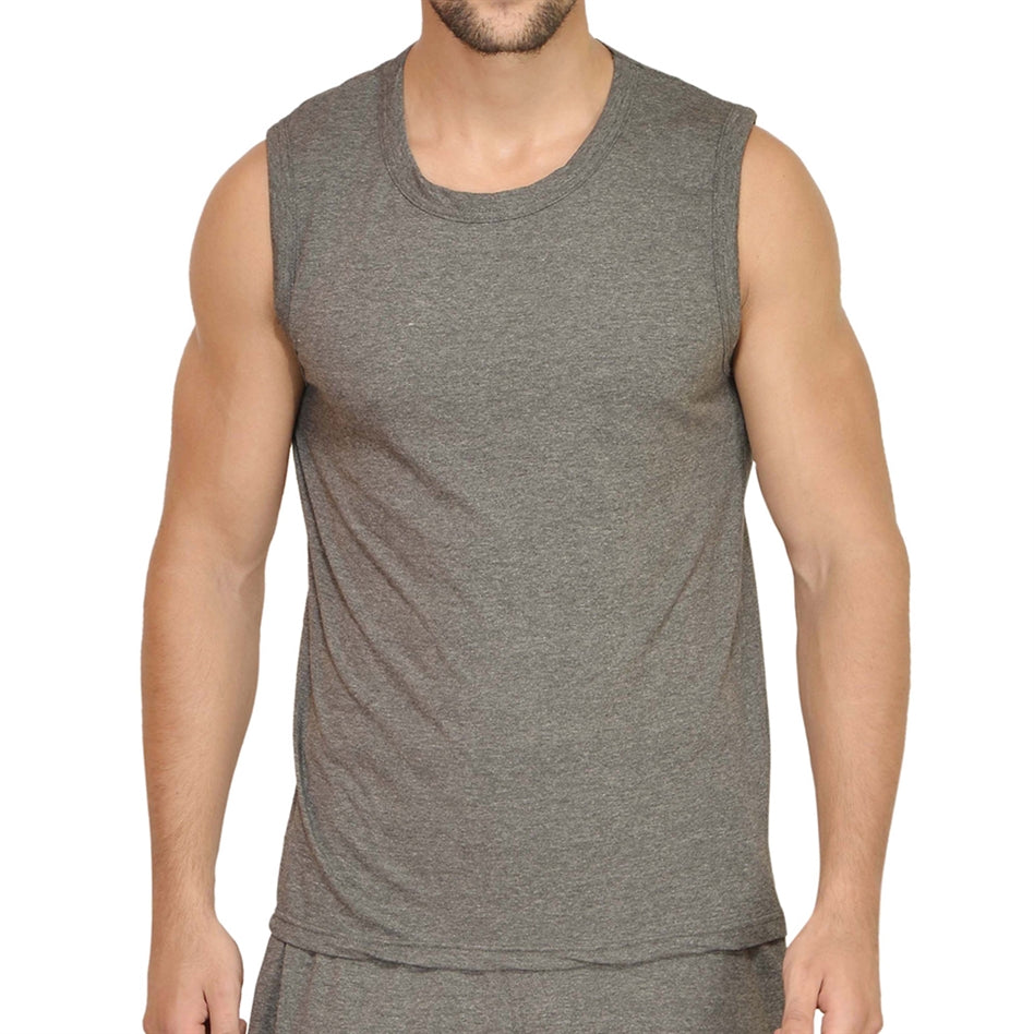 Charcoal Melange Gym Vest For Men
