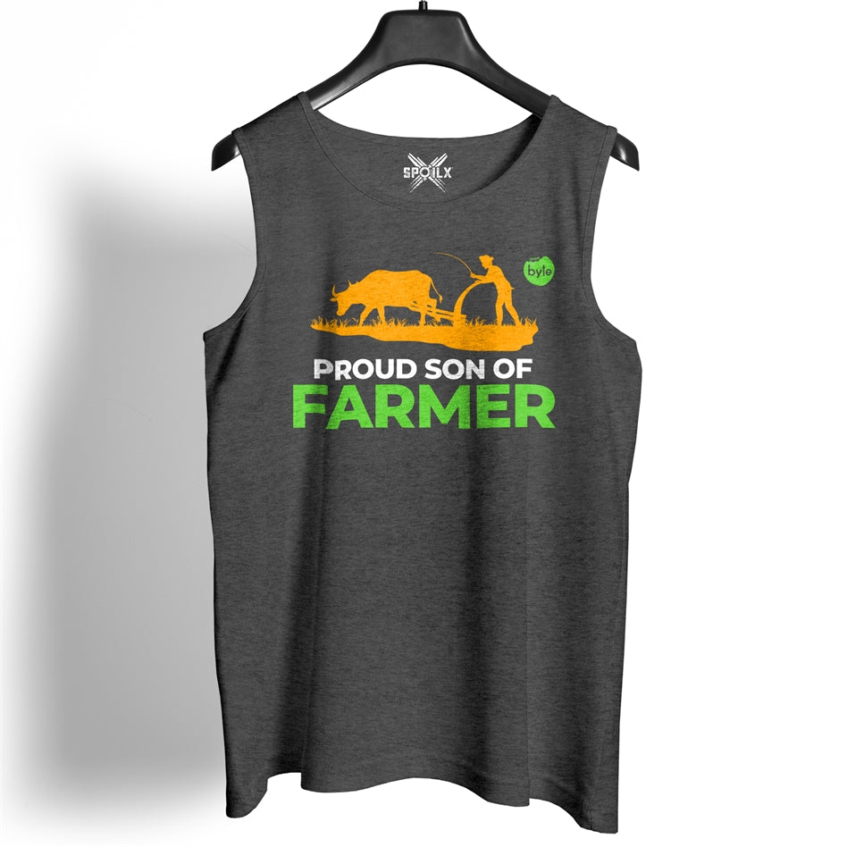 Street Byte Proud Son Of A Farmer Charcoal Melange Gym Vest For Men