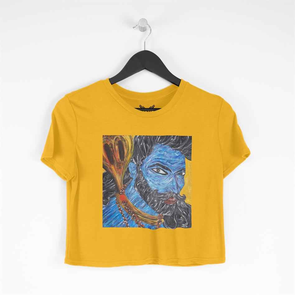 Om Namah Shivay Yellow Cropped T-shirt For Women