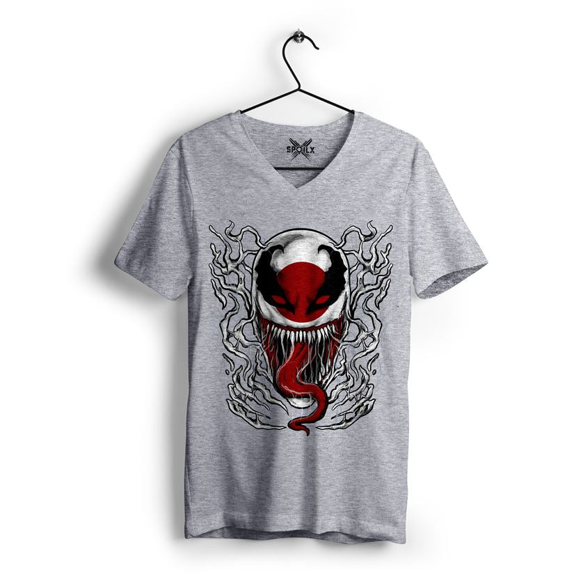 grey melange v neck t shirt