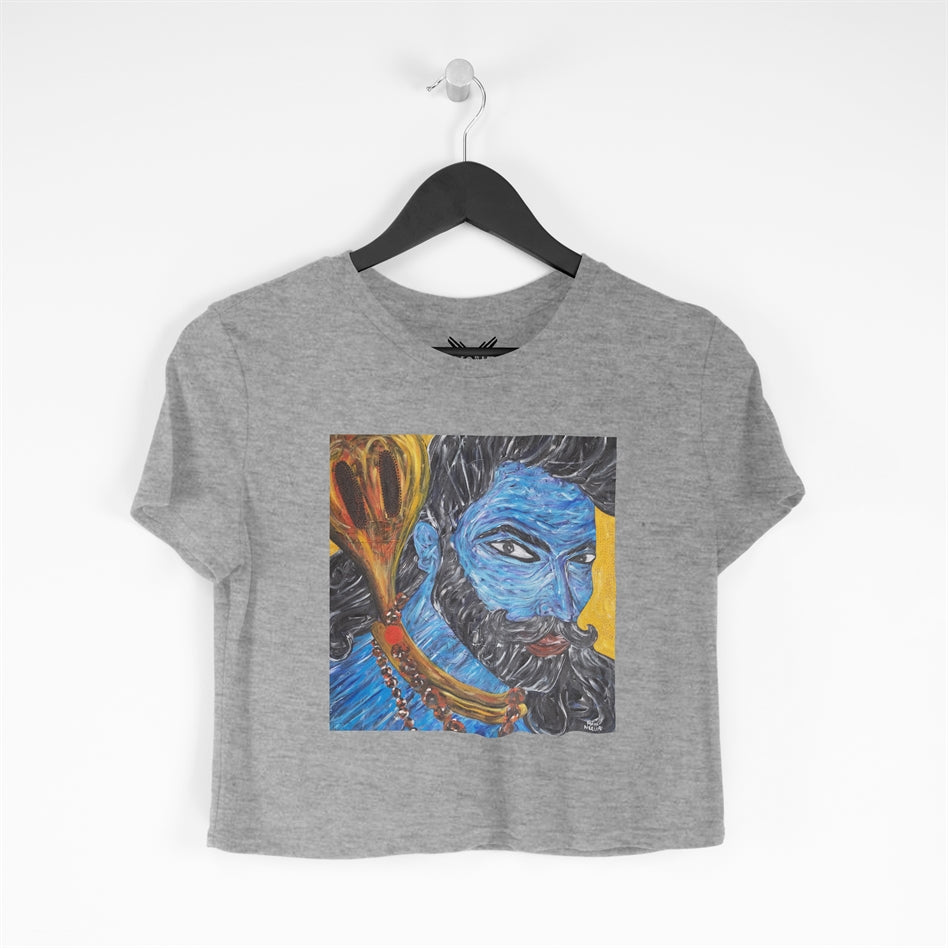 Om Namah Shivay Grey Cropped T-shirt For Women