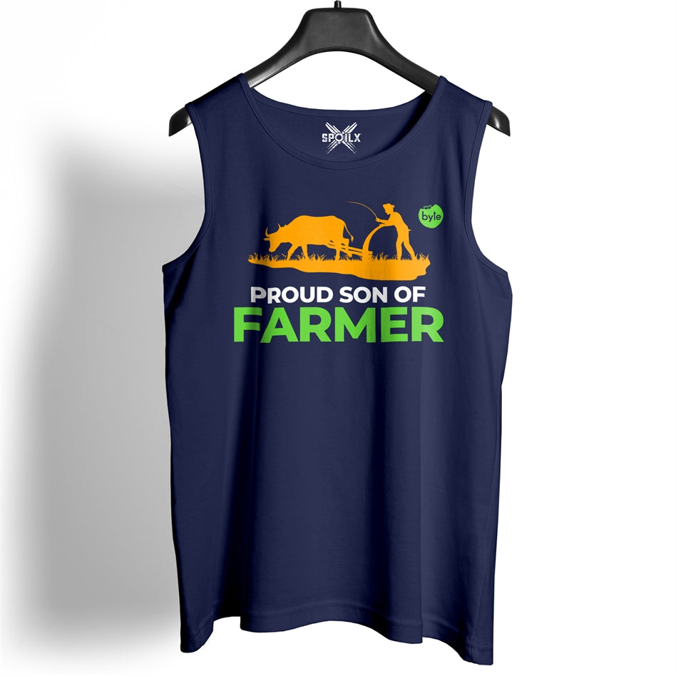 Street Byte Proud Son Of A Farmer Navy Blue Gym Vest For Men