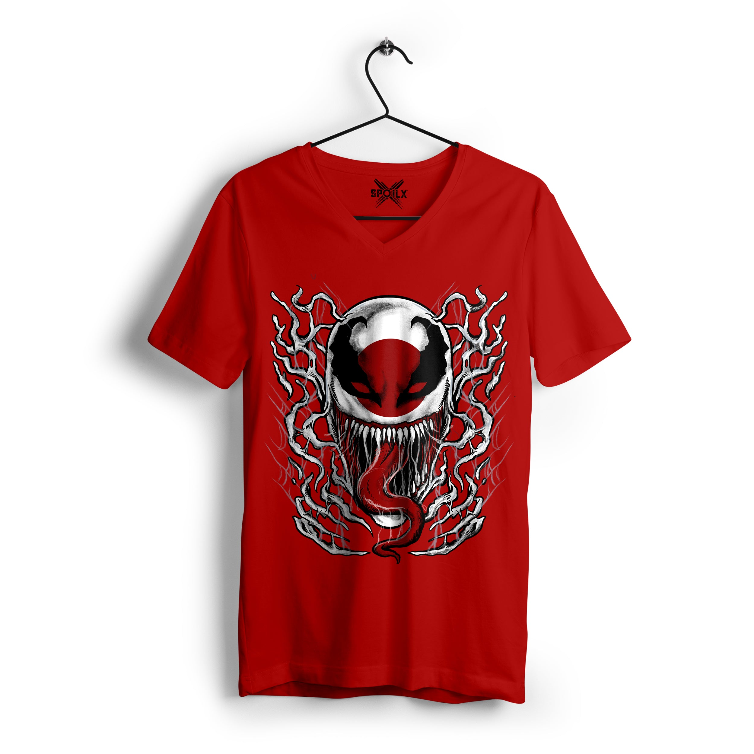 red v neck t shirt