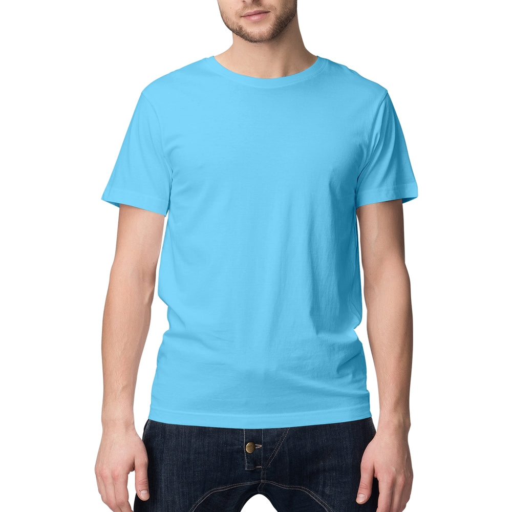Sky Blue Solid Round Neck T-shirt For Men