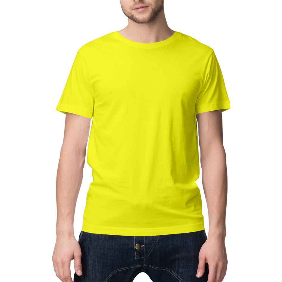 Neon Yellow Solid Round Neck T-shirt For Men