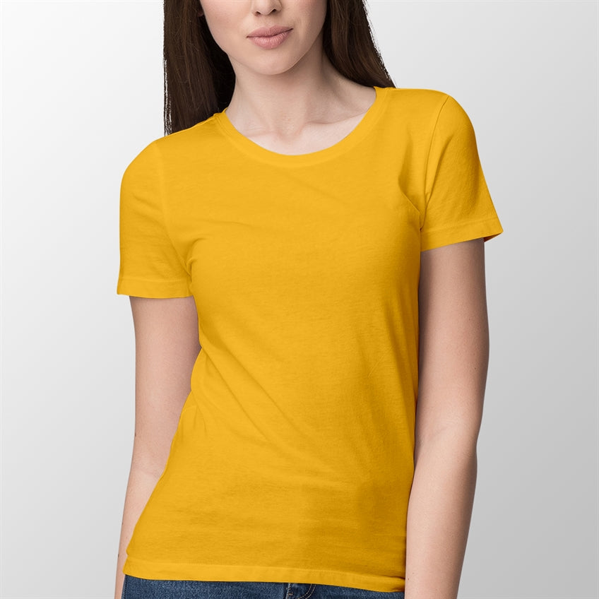 Golden Yellow Solid Round Neck T-shirt For Women