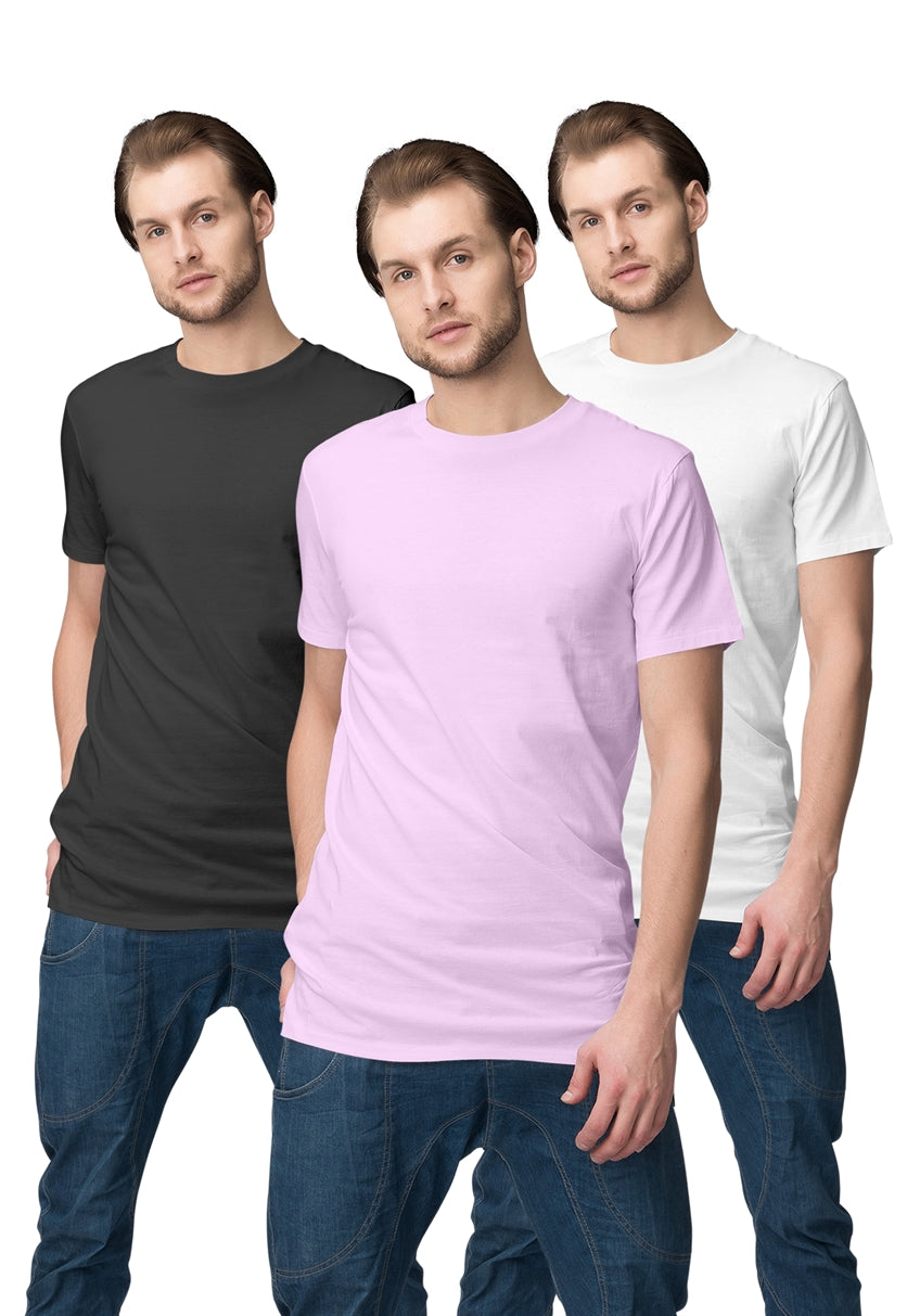 Plain Round Neck T-shirt Pack of 3 - Pack#2