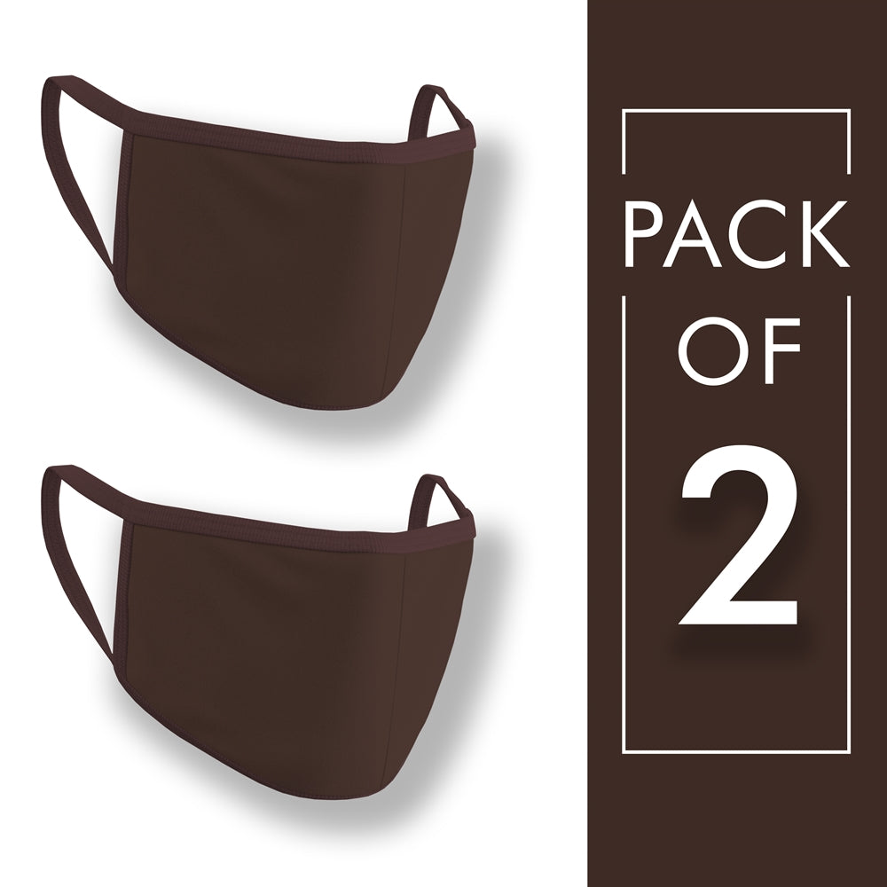 Coffee Brown Face Mask Pack of 2