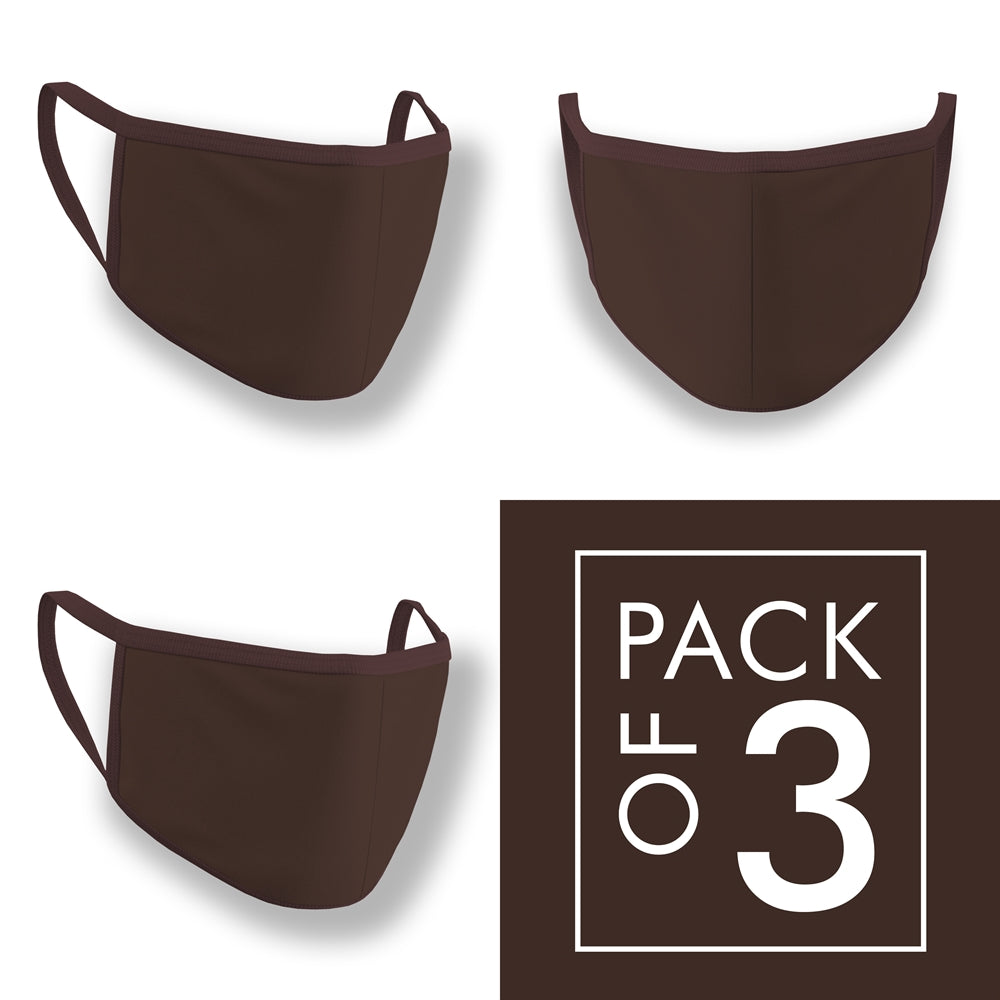 Coffee Brown Face Mask Pack of 3