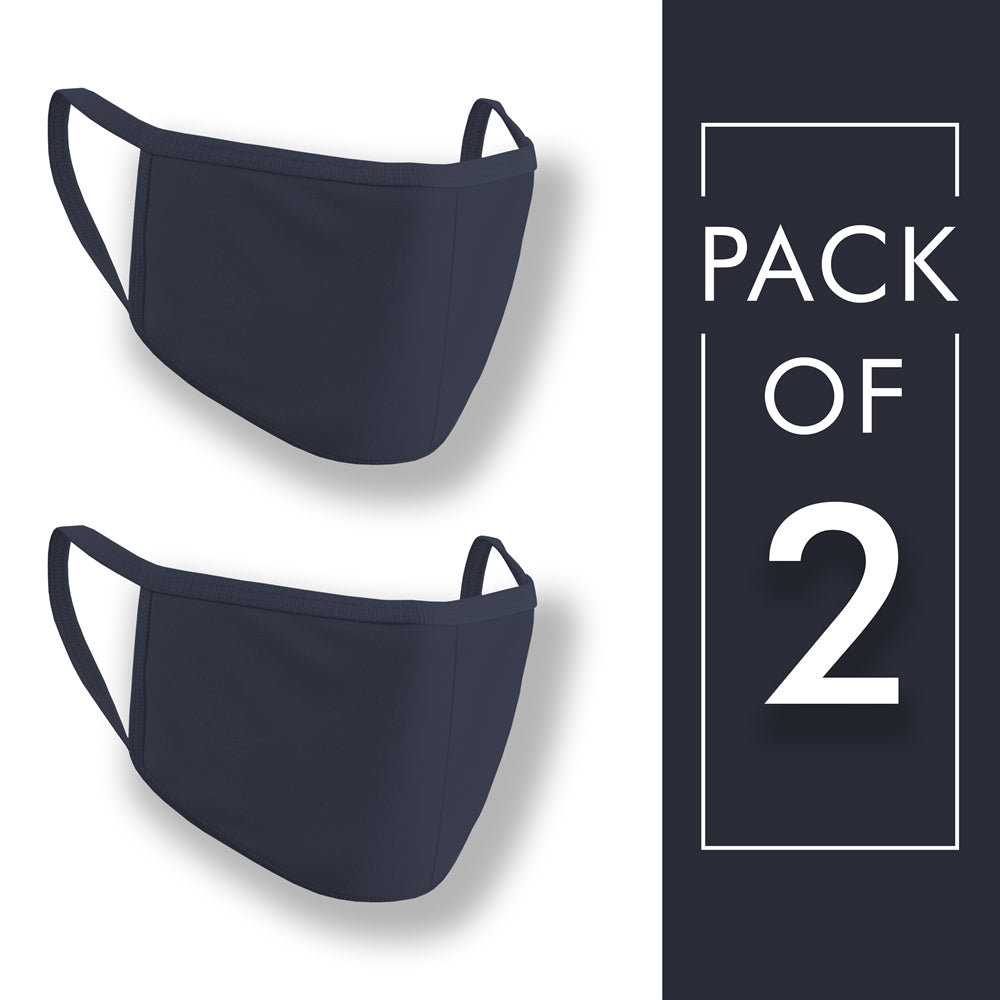 Navy Blue Plain Face Mask Pack of 2