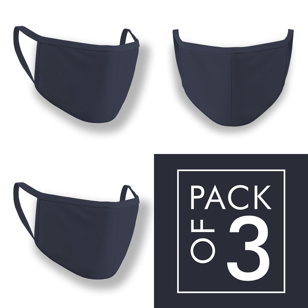 Navy Blue Plain Face Mask Pack of 3