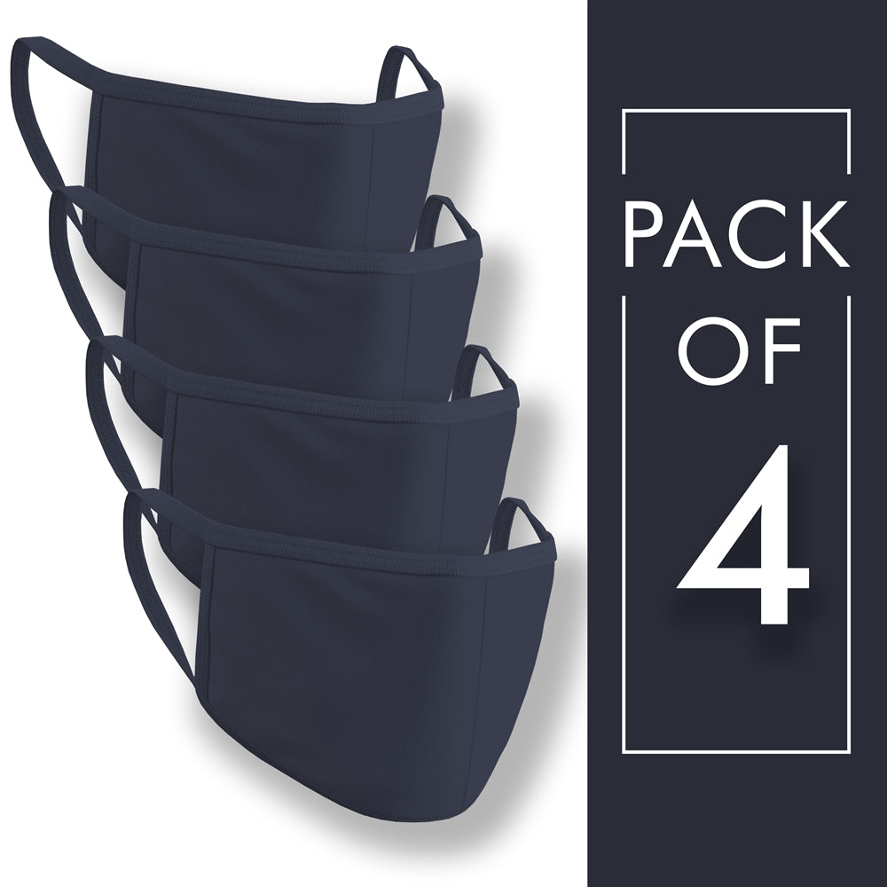 Navy Blue Plain Face Mask Pack of 4