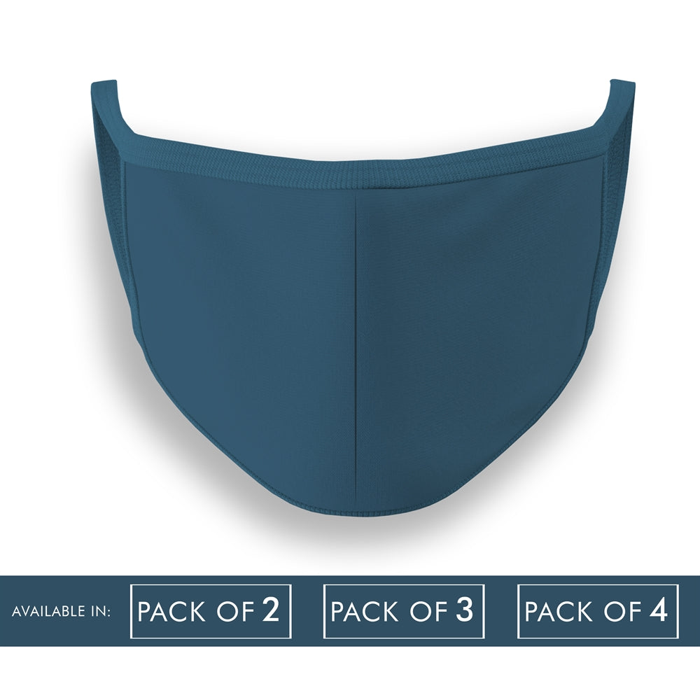 Petrol Blue Plain Face Mask Combo Pack