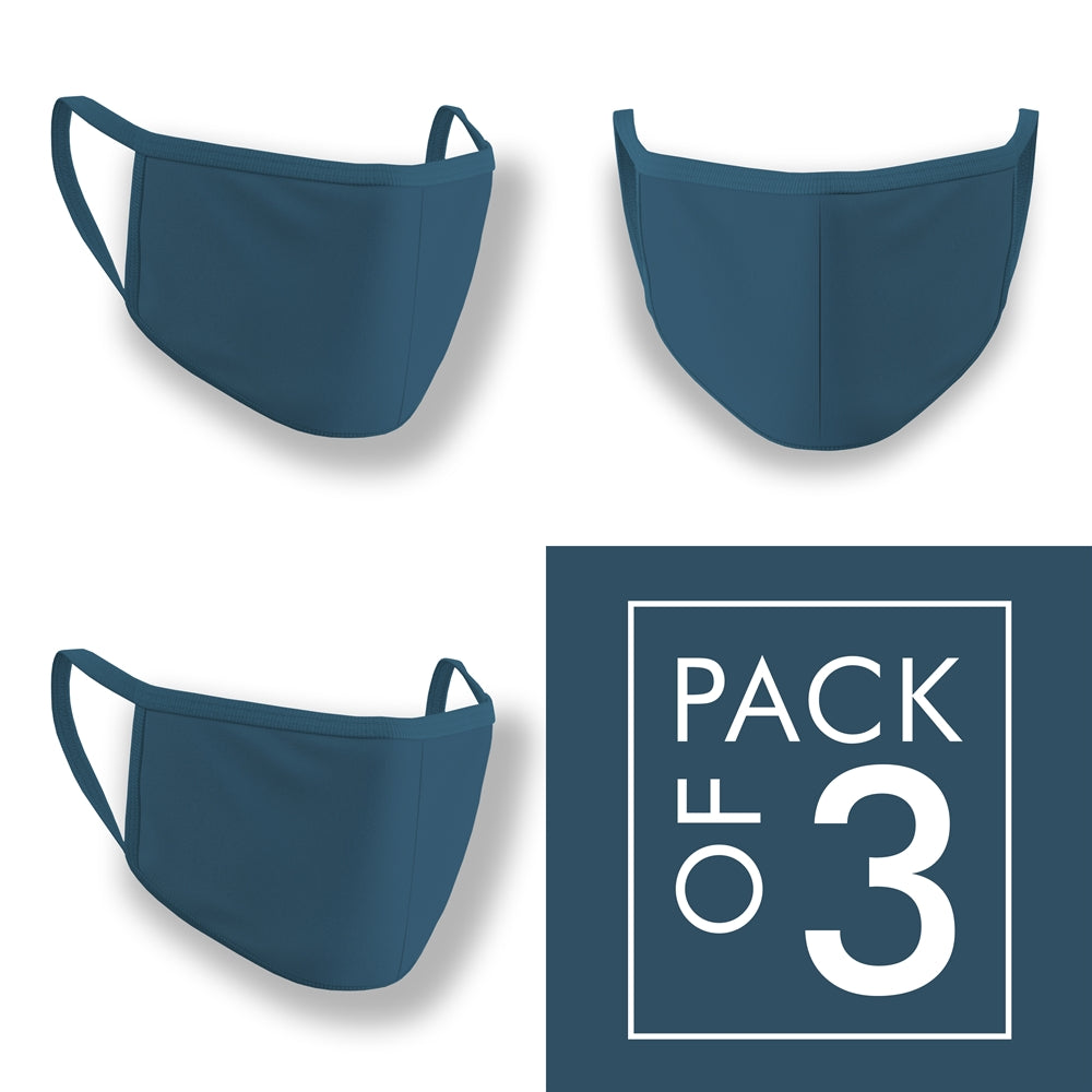 Petrol Blue Plain Face Mask Pack of 3