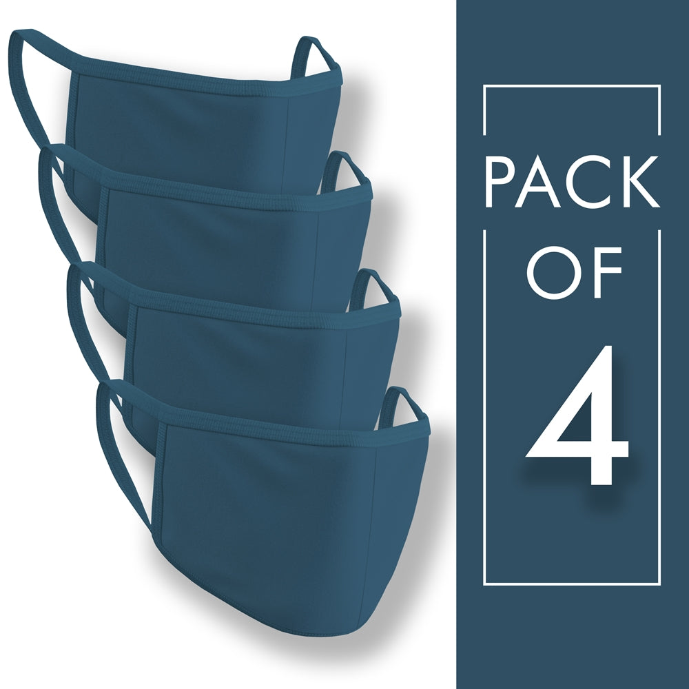 Petrol Blue Plain Face Mask Pack of 4
