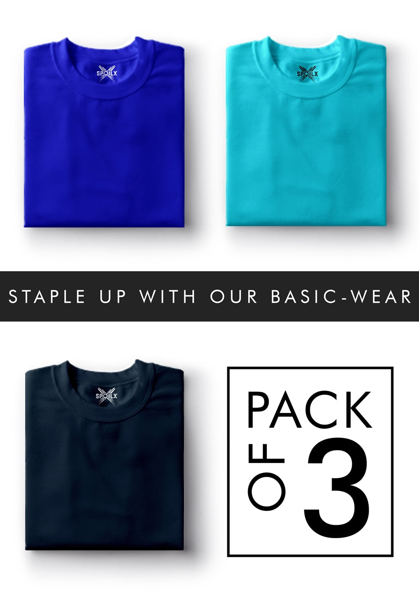 Plain Round Neck T-shirt Pack of 3 - Pack#8