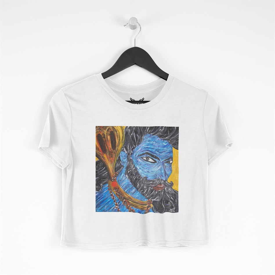 Om Namah Shivay White Cropped T-shirt For Women