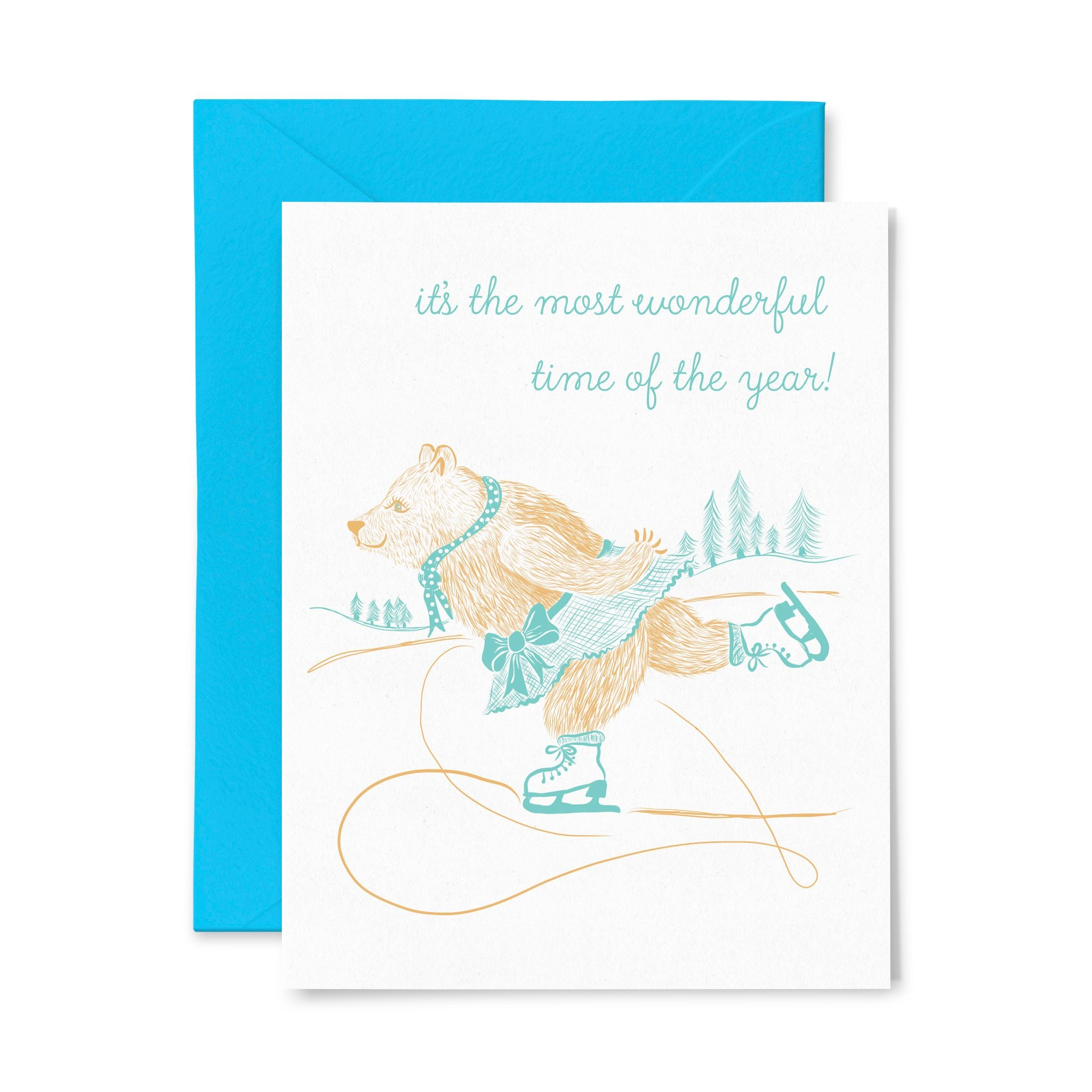 Bear Ice Skate | Holiday | Letterpress Greeting Card
