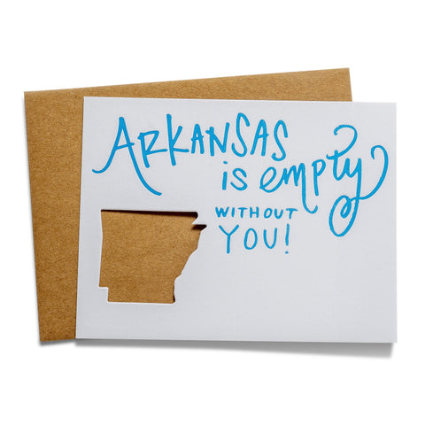 Arkansas is Empty | Die-Cut Letterpress Greeting Card
