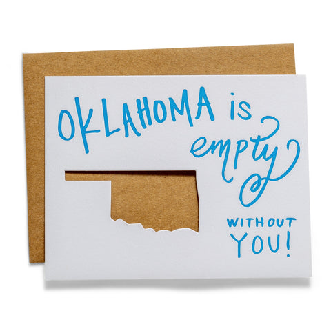 Oklahoma is Empty | Die-Cut Letterpress Greeting Card