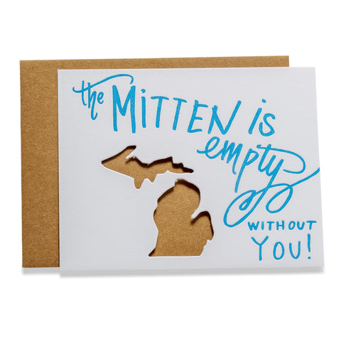 Mitten is Empty | Die-Cut Letterpress Greeting Card